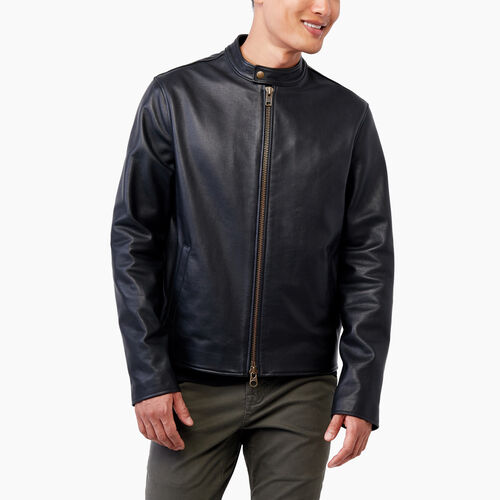 Roots-Leather Leather Jackets-Keith Jacket Lake-Black-A