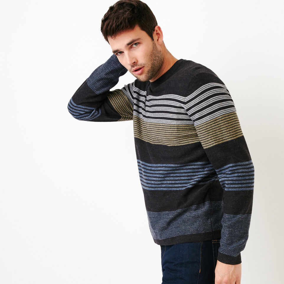 Roots-Men Our Favourite New Arrivals-Canoe Lake Stripe Crew Sweater-Indigo-C