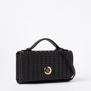Roots-Leather Wallets-Turnlock Wallet Bag Woven-Black-A