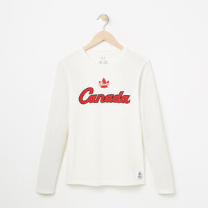 Roots-Women Canada Collection By Roots™-Womens Heritage Script Long Sleeve T-shirt-Pristine White-A