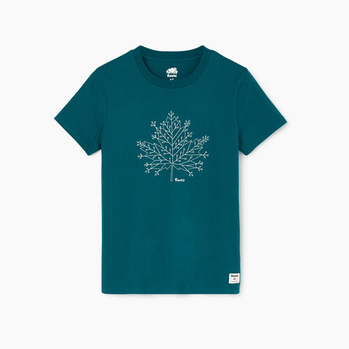 Roots-Women Categories-Womens Snowflake T-shirt-Everglade Green-A