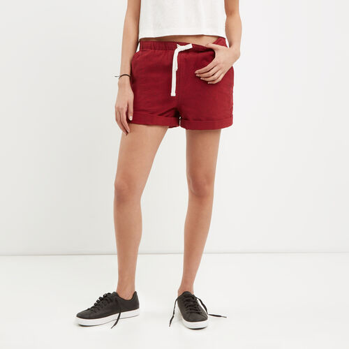 Roots-Winter Sale Bottoms-Woodland Short-Sage Red-A