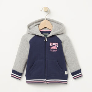 Roots-Kids Baby Girl-Baby RBC Varsity Full Zip Hoody-Cascade Blue-A