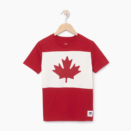 Roots-Kids Tops-Boys Blazon T-shirt-Sage Red-A
