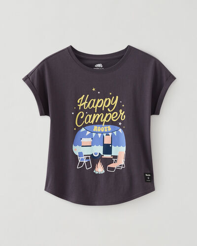 Roots-Kids Bestsellers-Girls Camp T-shirt-Forged Iron-A