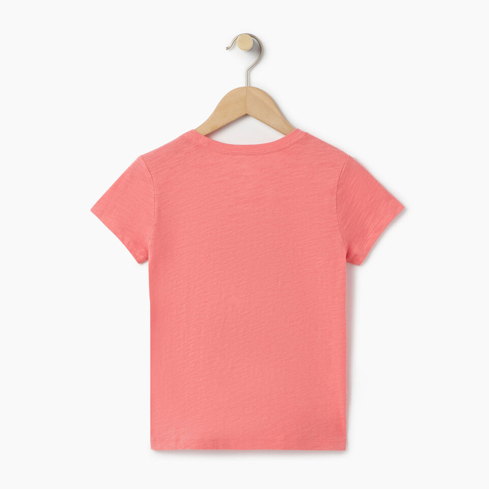 Roots-Kids Our Favourite New Arrivals-Girls Roots Script T-shirt-Coral-B