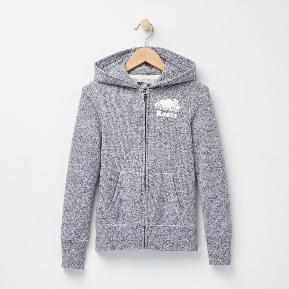 Roots-Girls Salt and Pepper Original Full Zip Hoody