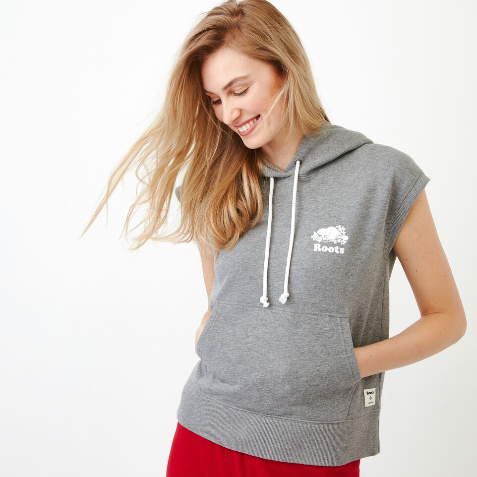Roots-Women Our Favourite New Arrivals-Tyne Sleeveless Hoody-Medium Grey Mix-A