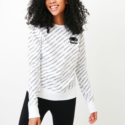 Roots-Women Categories-Peleton Crew Sweatshirt-White-A