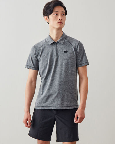 Roots-New For This Month Journey Collection-Journey Zip Polo-Salt & Pepper-A