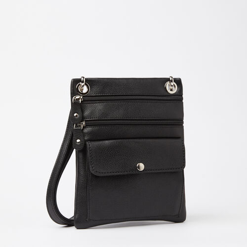 Roots-Leather  Handcrafted By Us Handbags-Urban Pouch-Black-A