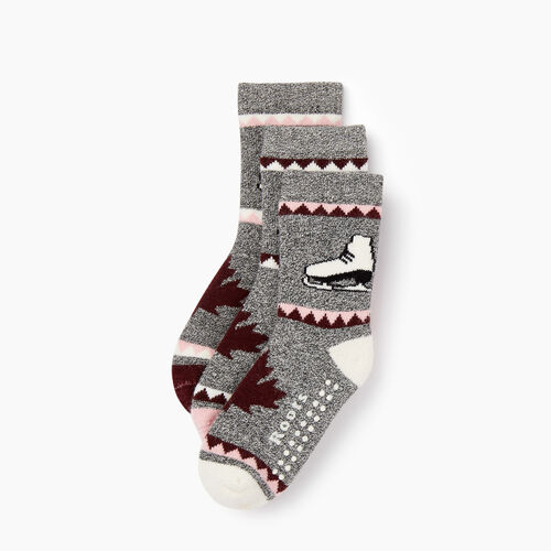 Roots-Kids Accessories-Toddler Canadiana Sock 3 Pack-Pink-A
