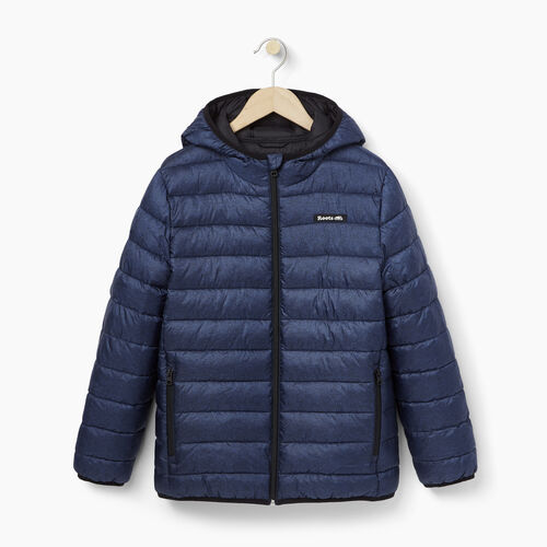 Roots-Kids Outerwear-Boys Roots Puffer Jacket-Navy Blazer Pepper-A