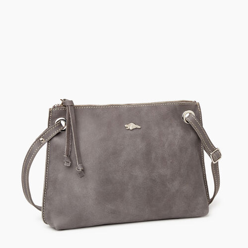 Roots-Leather  Handcrafted By Us Crossbody-Edie Bag-Charcoal-A