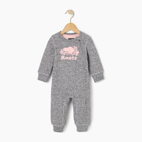 Roots-Kids Rompers & Onesies-Baby Original Cooper Beaver Romper-Salt & Pepper-A