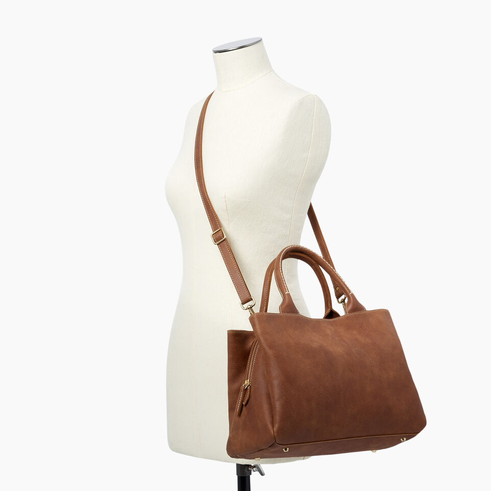 Roots-Leather  Handcrafted By Us Handbags-Mont Royal Bag-Natural-B