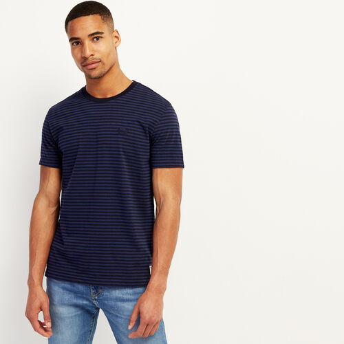 Roots-Men Clothing-Tribune Stripe T-shirt-Navy Blazer-A