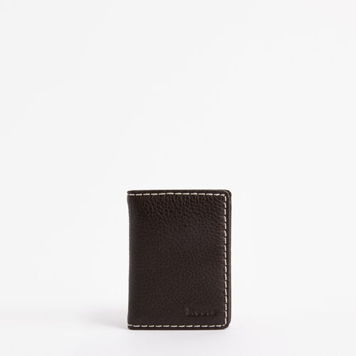 Roots-Leather Women's Wallets-Card Case With Id-Chocolate-A
