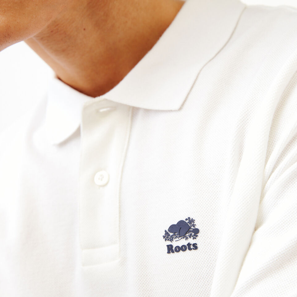 Roots-Men Shirts & Polos-Heritage Pique Polo-White-E