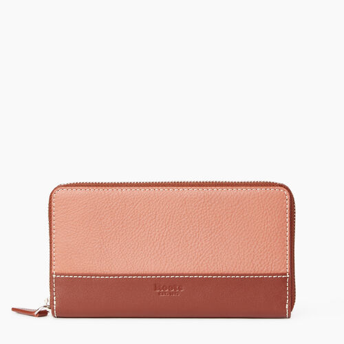 Roots-Leather Categories-Zip Around Wallet-Canyon Rose/oak-A