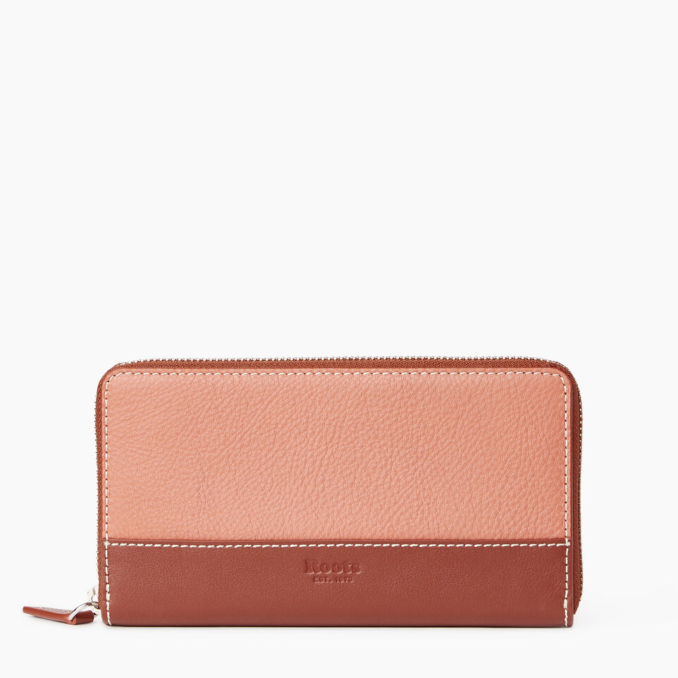 Roots-Leather  Handcrafted By Us Our Favourite New Arrivals-Zip Around Wallet-Canyon Rose/oak-A