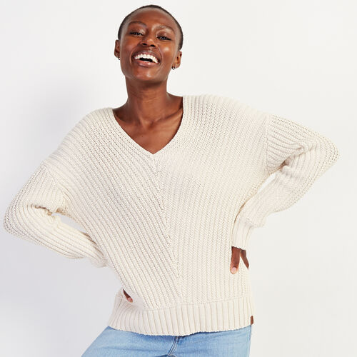 Roots-Women Sweaters & Cardigans-Elora V-neck Sweater-Cream-A