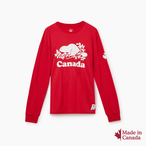 Roots-New For October Canada Collection By Roots™-Cooper Canada Long Sleeve T-shirt-Sage Red-A