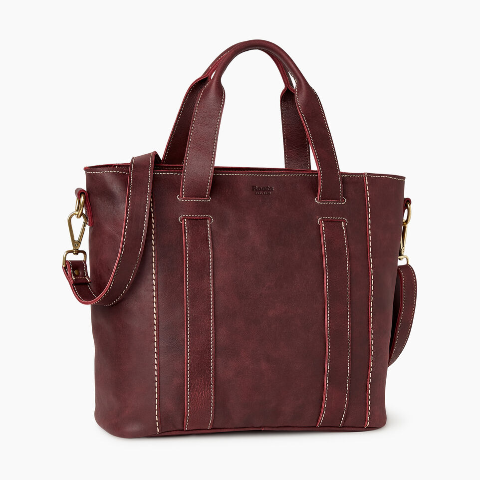 Roots-Leather  Handcrafted By Us Our Favourite New Arrivals-Victoria Tote-Crimson-A