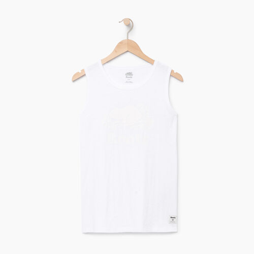 Roots-Women Tops-Cooper Beaver Muscle Tank-Crisp White-A