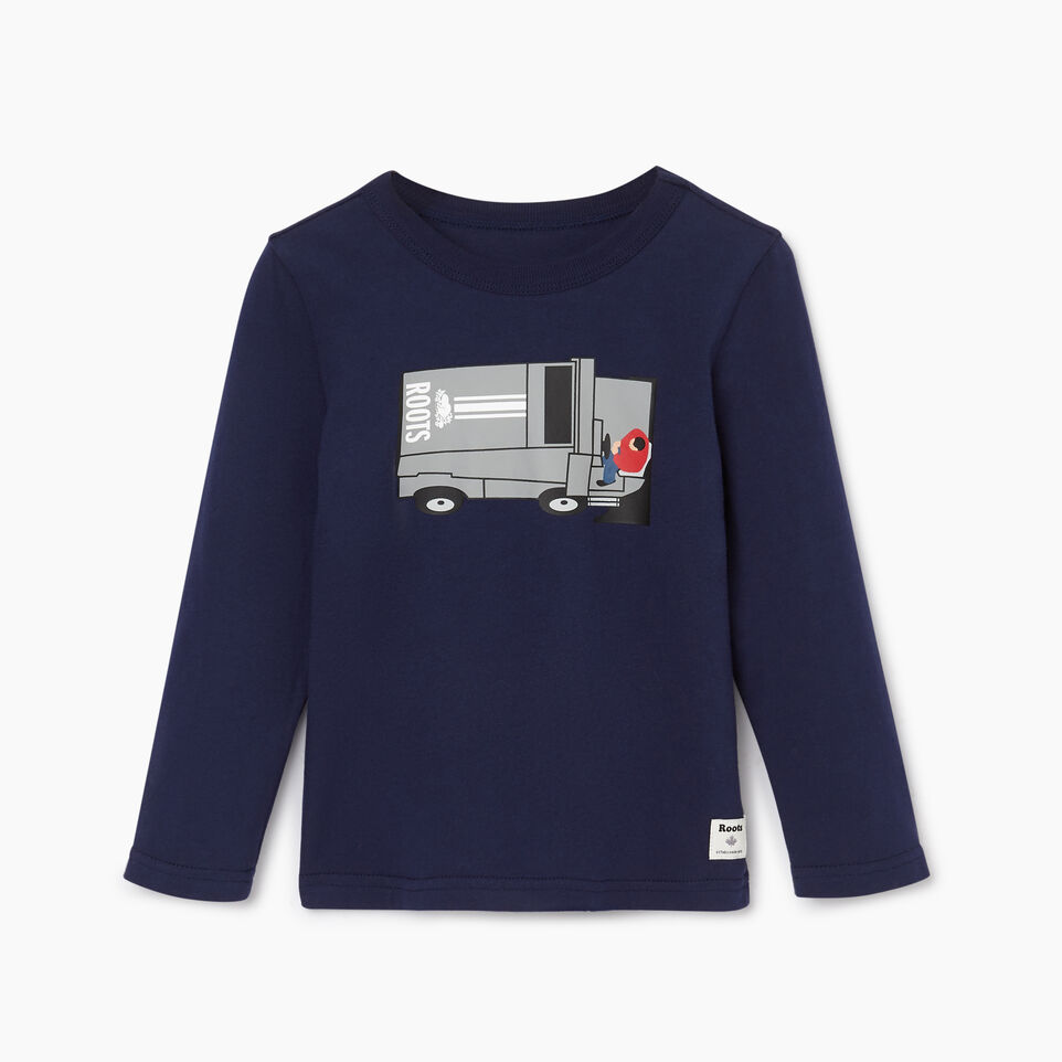 Roots-Kids Tops-Toddler Roots Rink T-shirt-Starnight Blue-A