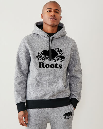 Roots-Men Sweatshirts & Hoodies-Contrast Cooper Kanga Hoody-Salt & Pepper-A