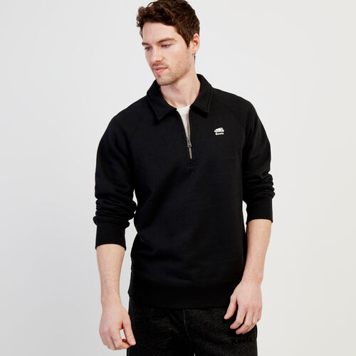 Roots-Men New Arrivals-Original Zip Polo-Black-A