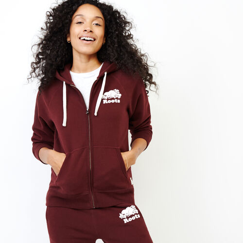 Roots-Women Sweatshirts & Hoodies-Original Full Zip Hoody-Crimson-A