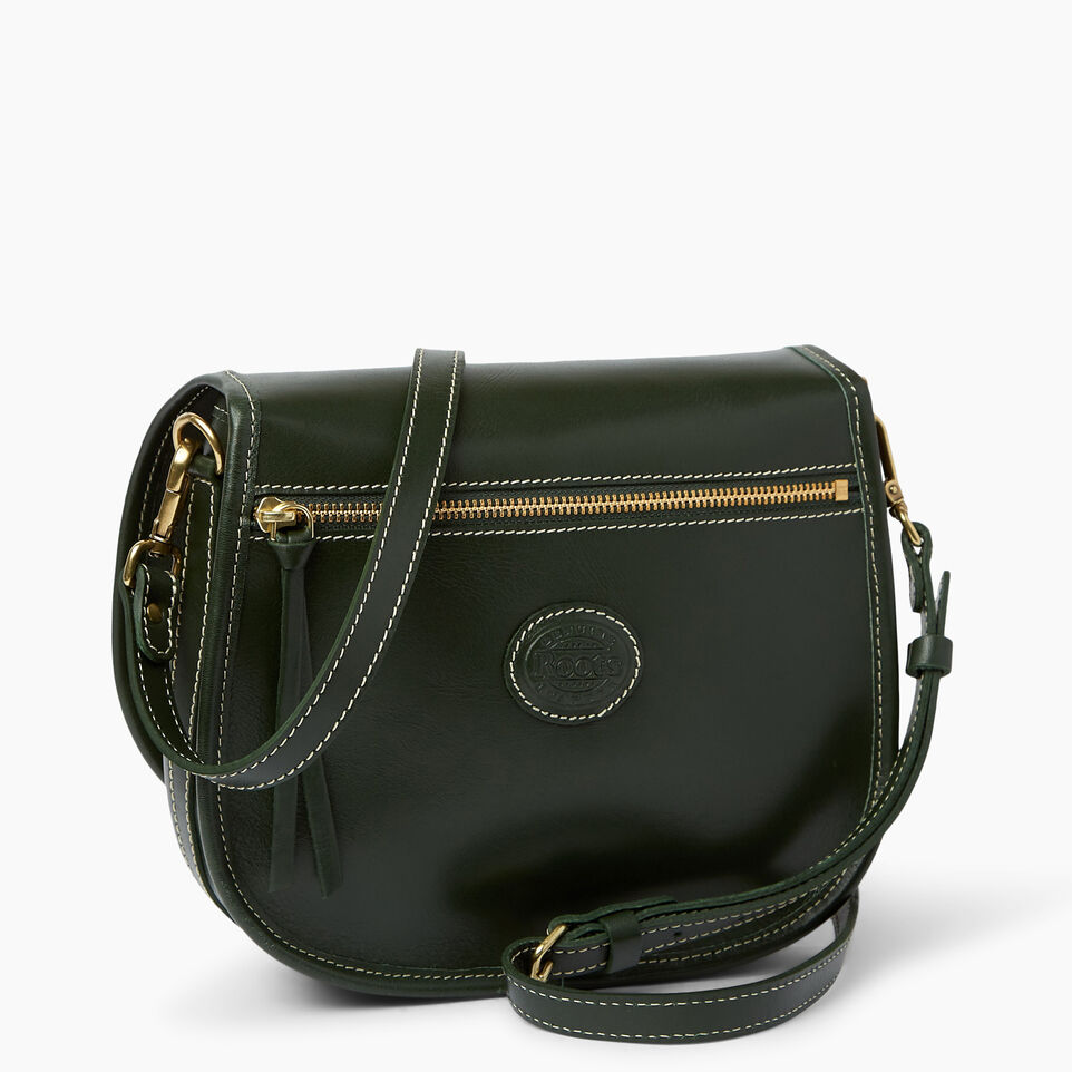 Roots-Leather  Handcrafted By Us Handbags-Medium English Saddle Heritage-Hunter Green-C