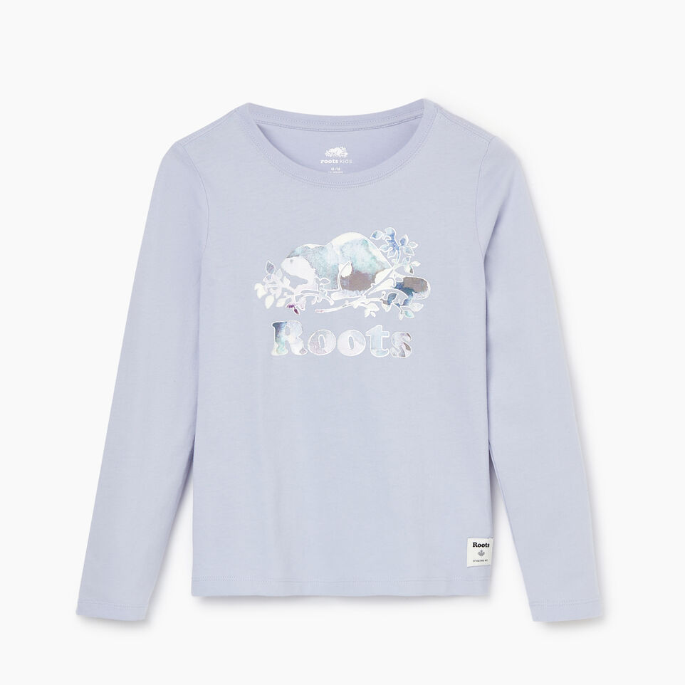 Roots-Kids Our Favourite New Arrivals-Girls Original Cooper Beaver T-shirt-Cosmic Sky-B