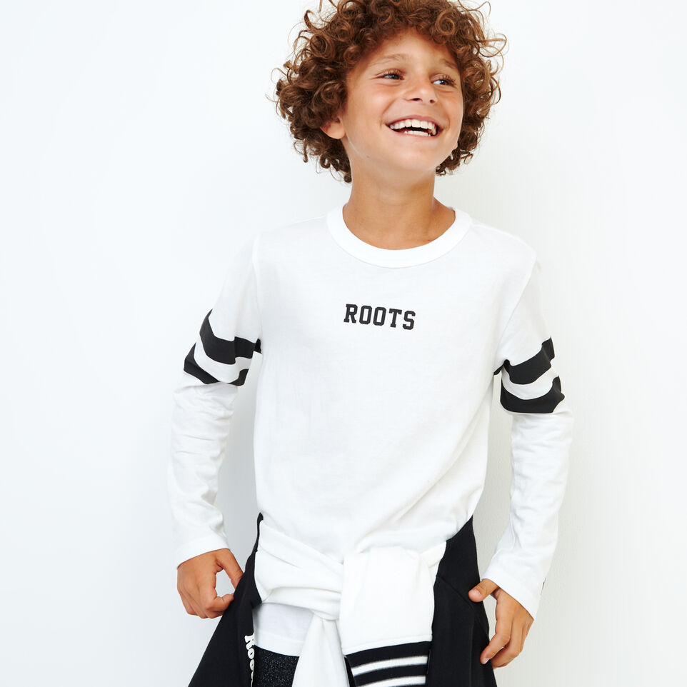 Roots-Kids New Arrivals-Boys 2.0 T-shirt-Ivory-A