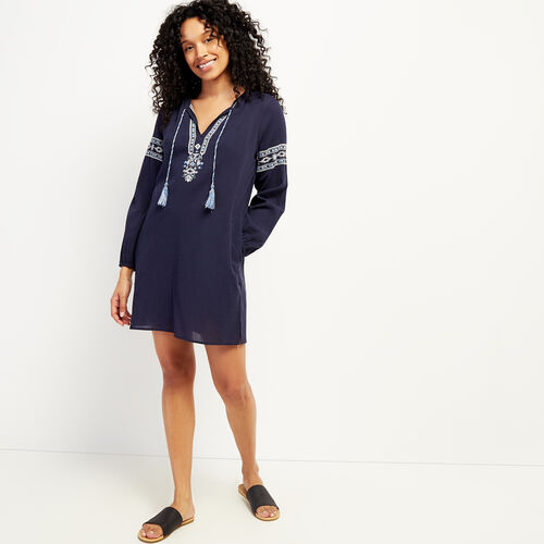 Roots-Women Dresses & Jumpsuits-Rimby Embroidered Peasant Dress-Navy Blazer-A