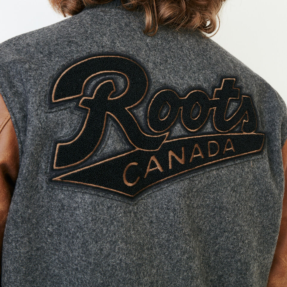 Roots-Leather  Handcrafted By Us Award Jackets-Roots Script Award Jacket-Charcoal-E