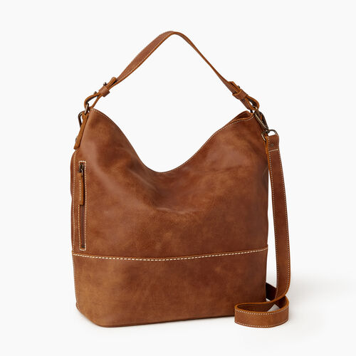 Roots-Leather Shoulder Bags-West End Hobo-Natural-A