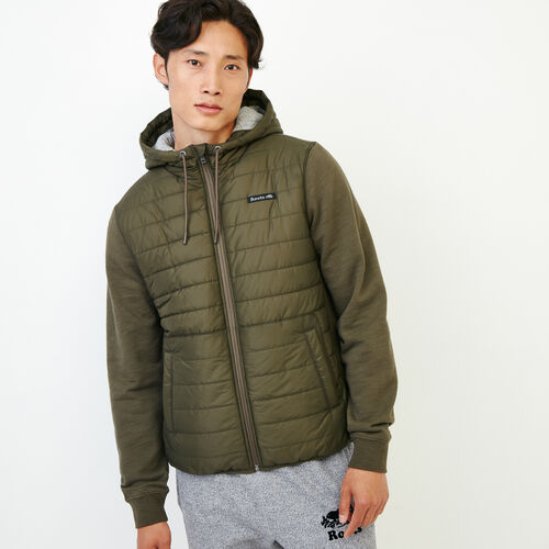 Roots-Men Outerwear-Roots Hybrid Hooded Jacket-Fatigue-A