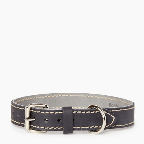 Roots-New For January Dog Accessories-Medium Leather Dog Collar-Jet Black-A