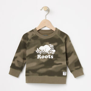 Roots-Kids Sweats-Baby Blurred Camo Crew-Dusty Olive-A