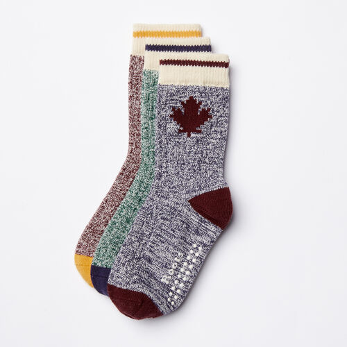 Roots-Kids Toddler Boys-Toddler Maple Sock 3 Pack-Crimson Mix-A