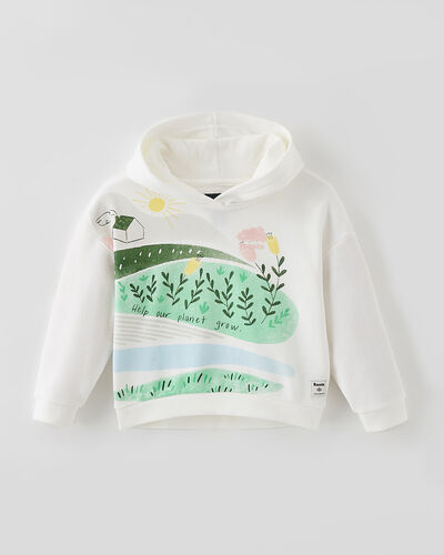 Roots-Sweats Toddler Girls-Toddler Meadow Print Hoody-Egret-A