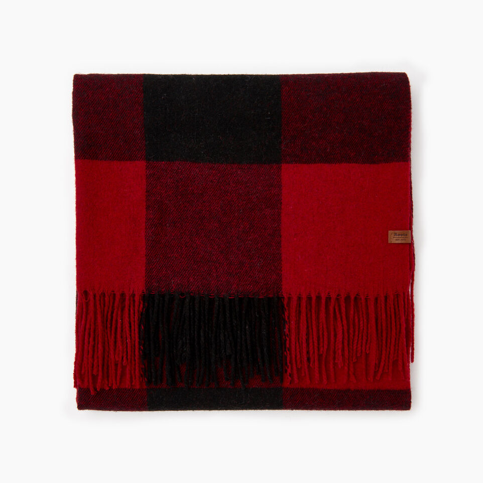 Roots-Women Categories-Roots Park Plaid Blanket Scarf-Cabin Red-B