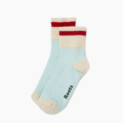 Roots-Women Socks-Womens Cotton Cabin Ankle Sock 2 pack-Aquifer-A