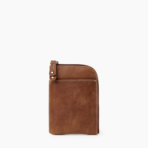 Roots-Leather Tech & Travel-Passport Phone Pouch Tribe-Natural-A