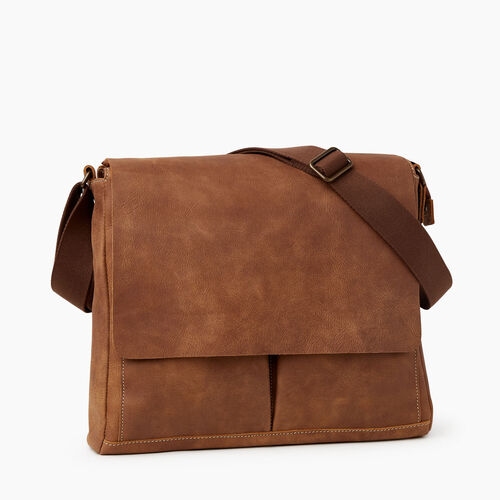 Roots-Leather Briefcases & Messengers-Bay Messenger Tribe-Natural-A