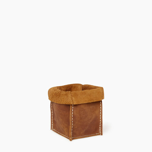 Roots-Leather Tribe Leather-Small Rollover Basket Tribe-Natural-A