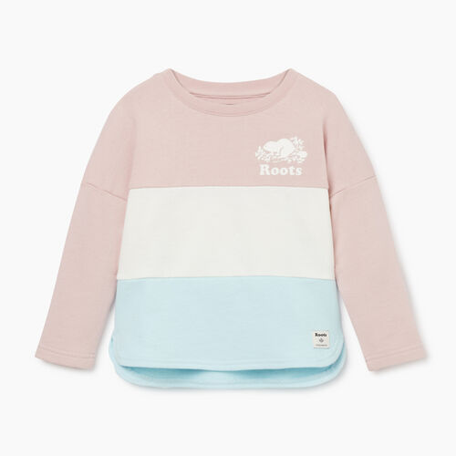 Roots-Kids Tops-Toddler Colour Block Sweatshirt-Burnished Lilac-A